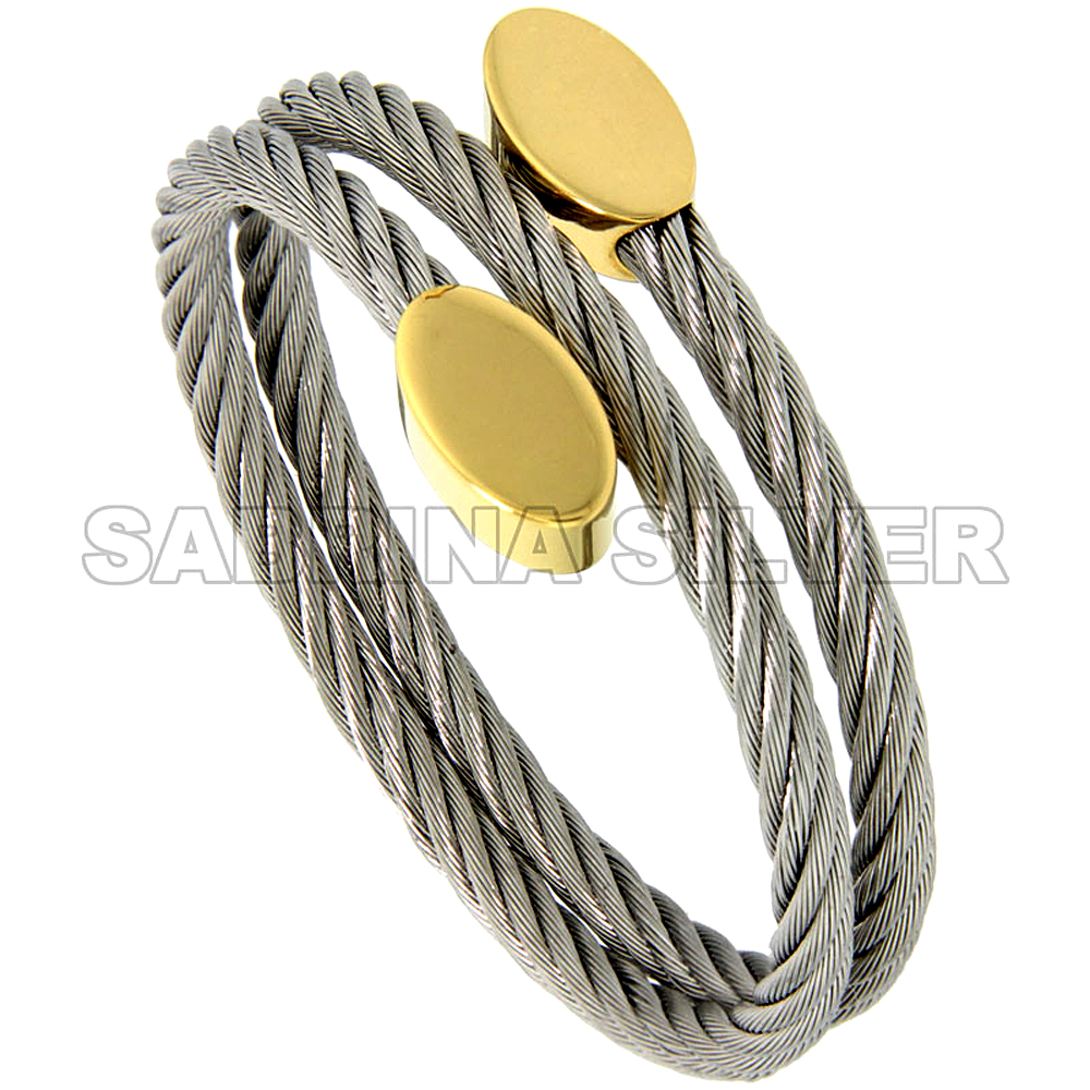 Stainless Steel Cable Golf Bracelet for Women Oval Gold-Tone Ends, 7 inch