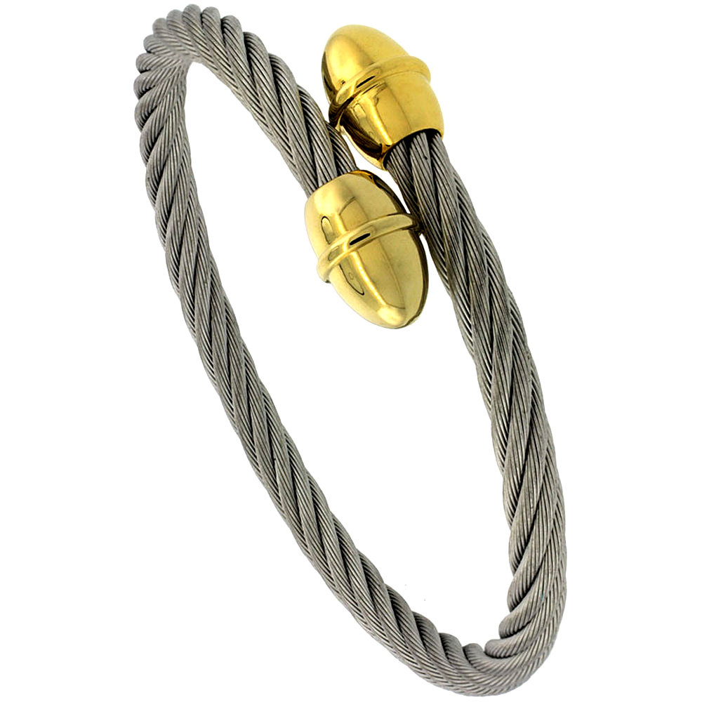 Stainless Steel 2-Tone Cable Golf Bracelet, 3/8 inch wide, 7 in.
