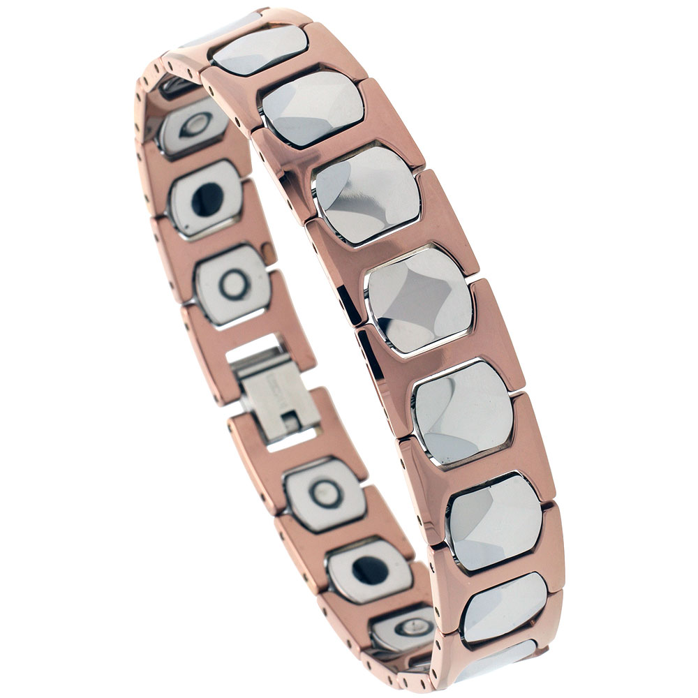 Tungsten Carbide Bracelet Magnetic Therapy 2-Tone Rose Faceted Square Links, 1/2 inch wide,