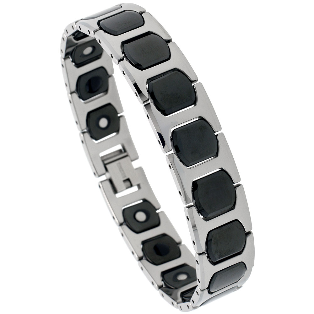 Tungsten & Ceramic Magnetic Bracelet, 2-Tone Black & Gun Metal, 1/2 inch wide,