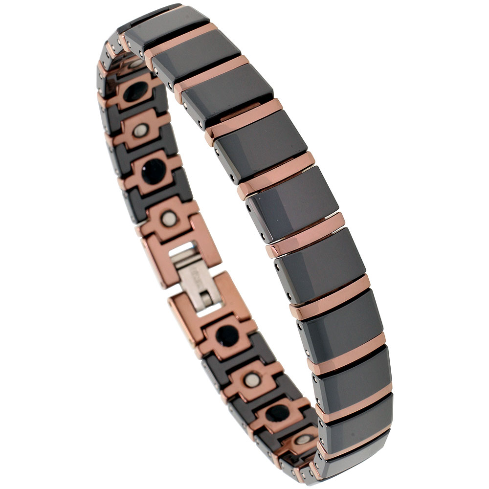 Tungsten & Ceramic Bracelet Magnetic Therapy, 2-Tone Black & Rose Gold Bar Links, 1/2 inch wide,