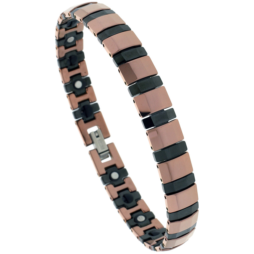 Tungsten & Ceramic Bracelet Magnetic Therapy, 2-Tone Rose Gold & Black Rectangular Faceted Bar Links, 3/8 inch wide,