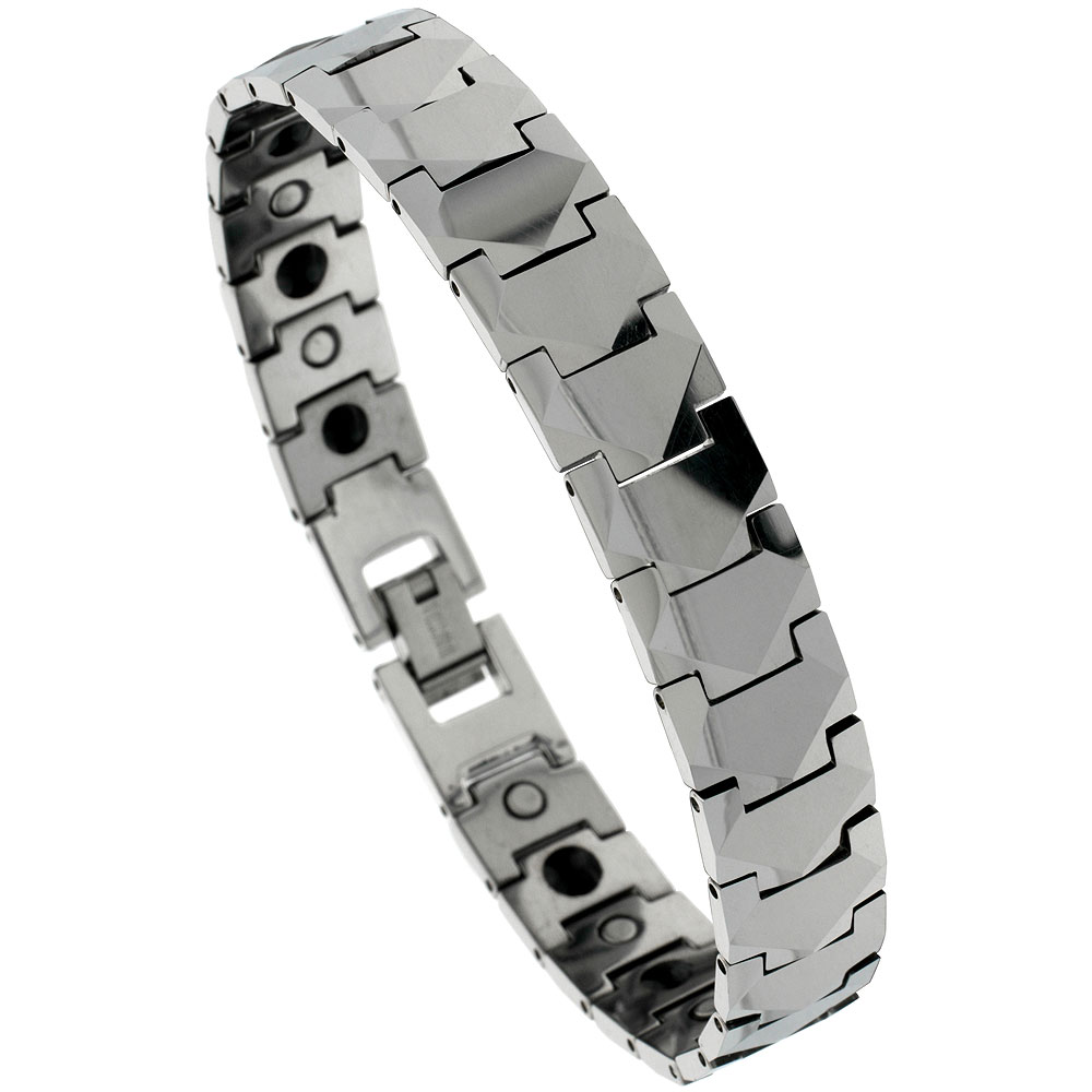 Tungsten Carbide Bracelet Magnetic Therapy Freeform Facets, 1/2 inch wide,