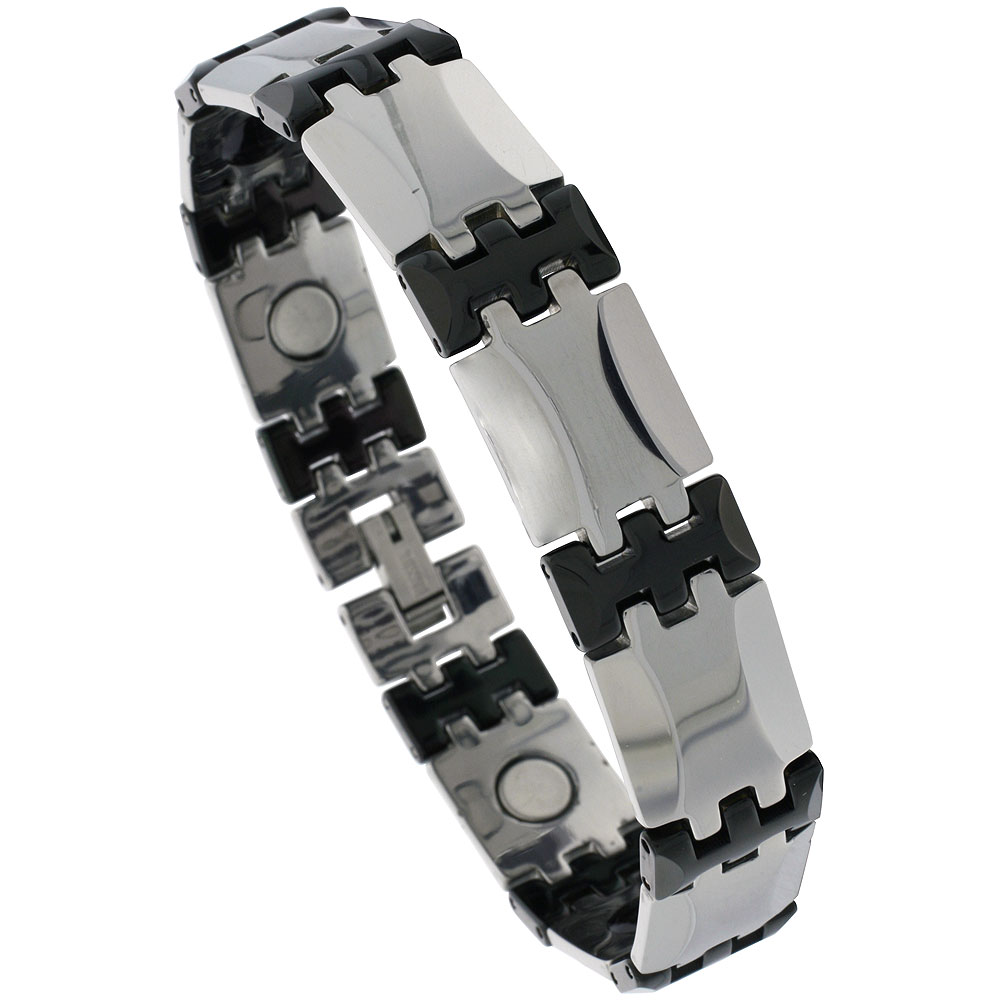 Tungsten & Ceramic Bracelet Magnetic Therapy, 2-Tone Gun Metal & Black Bar Links, 1/2 inch wide,