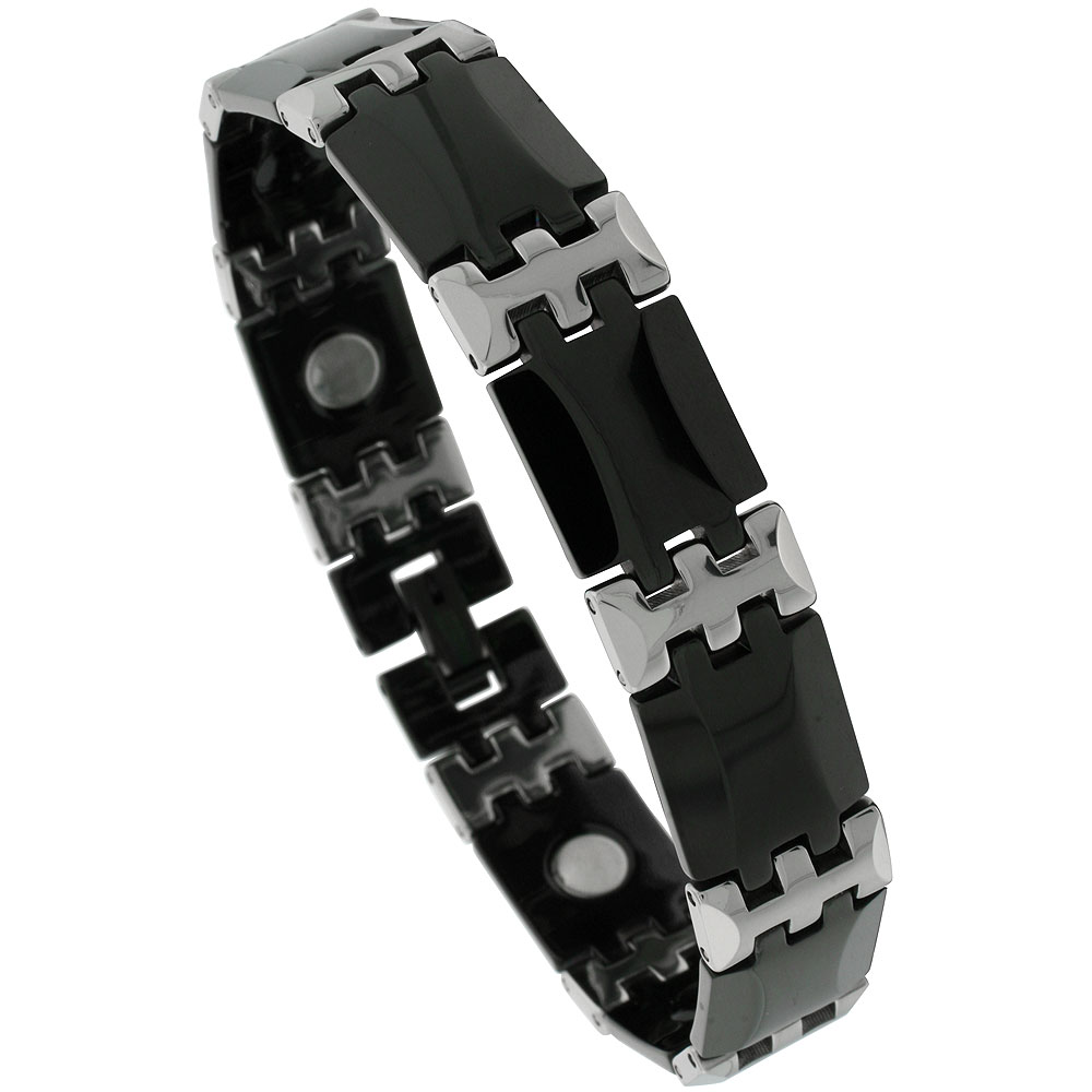 Tungsten & Ceramic Bracelet Magnetic Therapy, 2-Tone Black & Gun Metal Bar Links, 1/2 inch wide,