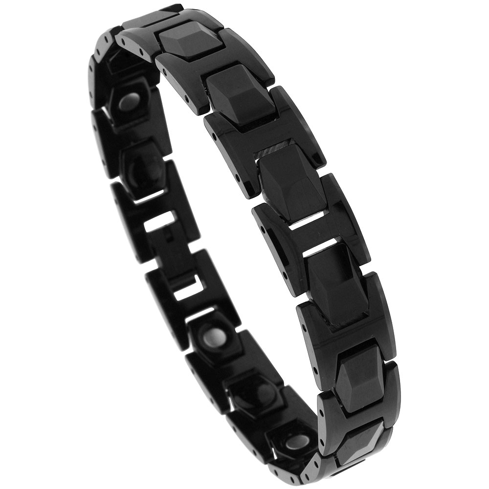Tungsten Carbide Black Bracelet Magnetic Therapy Faceted Hexagon Links, 1/2 inch wide,