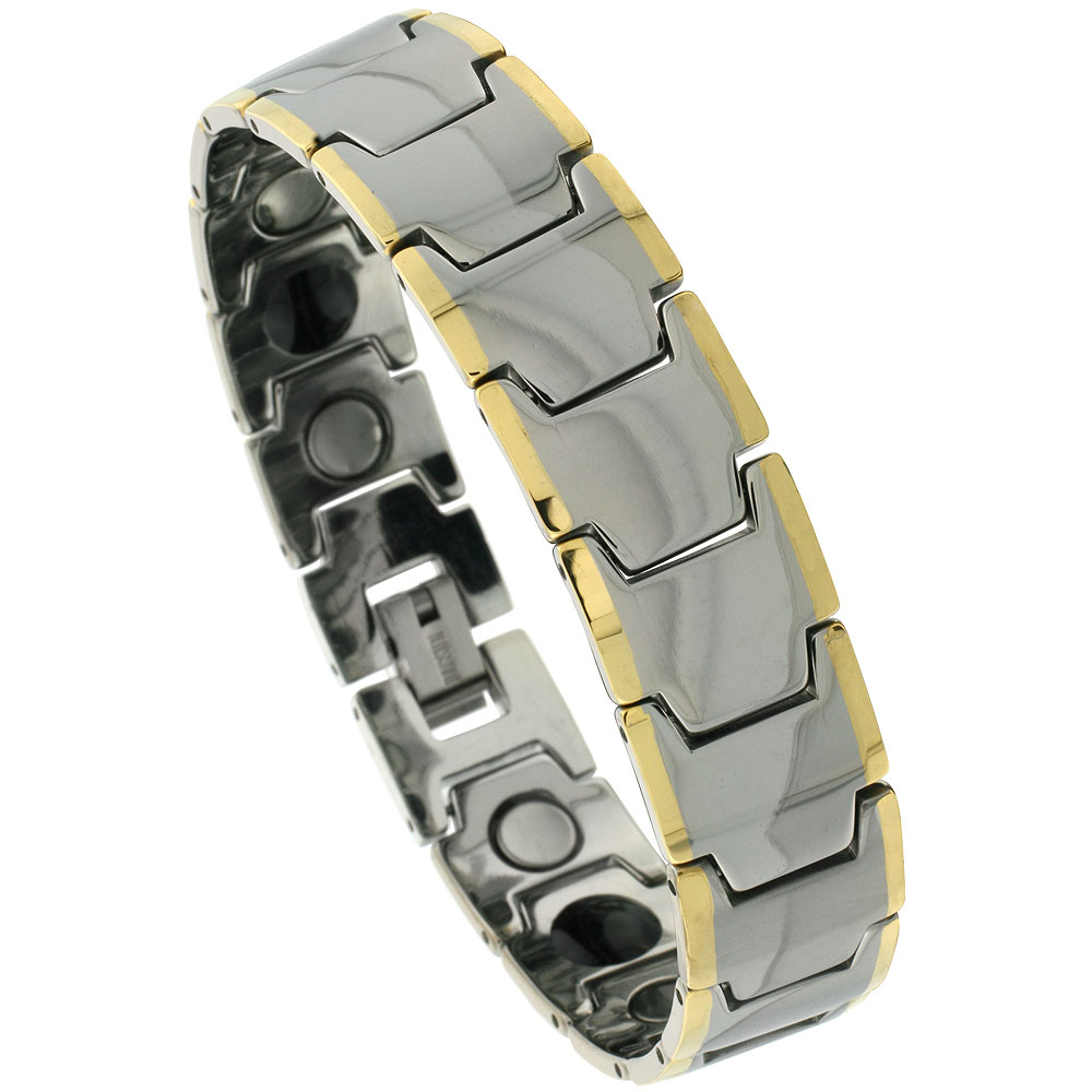 Tungsten Carbide Bracelet Magnetic Therapy Gold-tone Edge Bar Links, 5/8 inch wide,