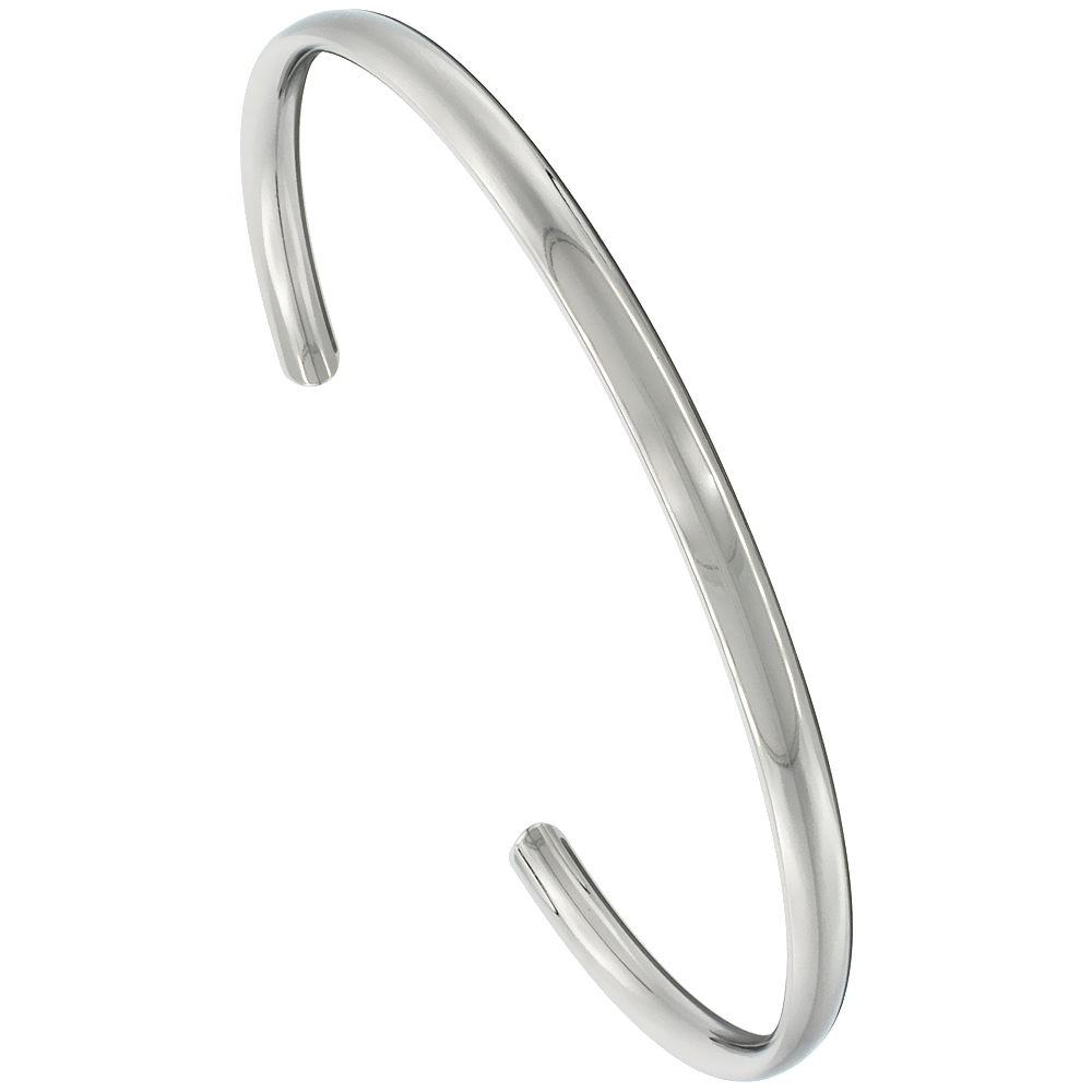 Titanium Domed Cuff Bangle Bracelet Highly Polished Comfort-fit, 8 inch long 4 mm 3/16 inch wide