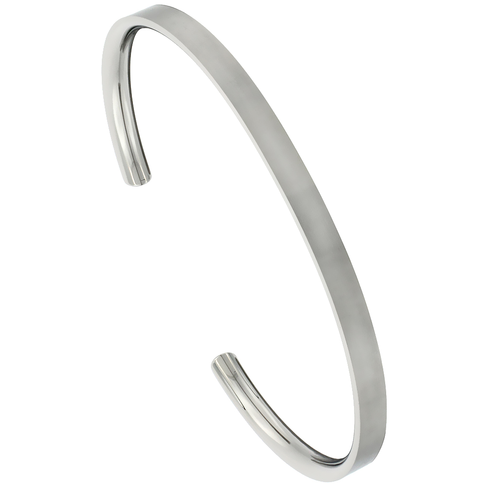 Titanium Flat Cuff Bangle Bracelet Matte finish Comfort-fit, 8 inch long 4 mm 3/16 inch wide