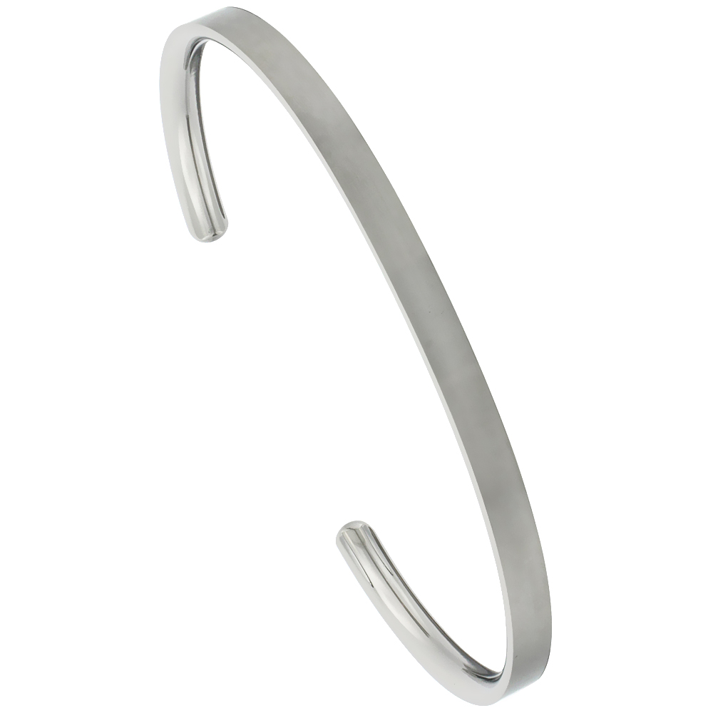 Titanium Flat Cuff Bangle Bracelet Gold Dot Ends Matte finish Comfort-fit, 8 inch long 4 mm 3/16 inch wide