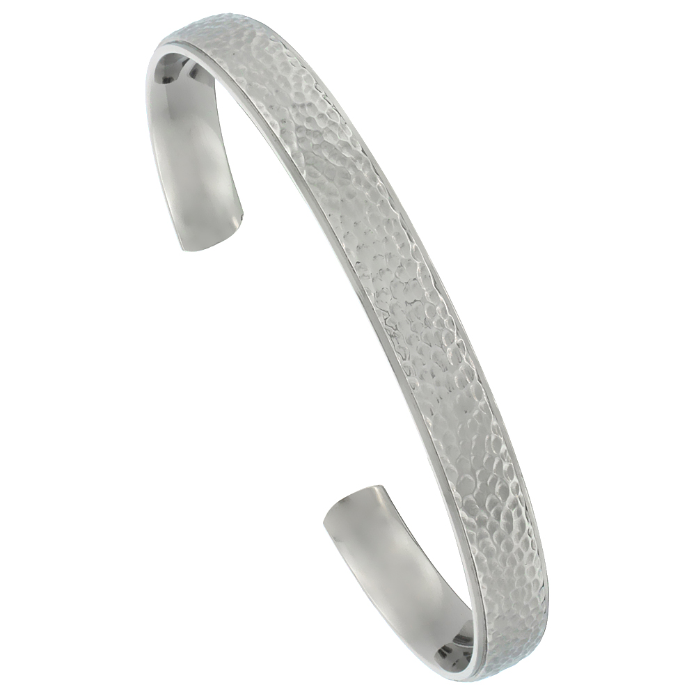 Titanium Flat Cuff Bangle Bracelet Hammered Polish finish Comfort-fit, 8 inch long 8 mm 5/16 inch wide