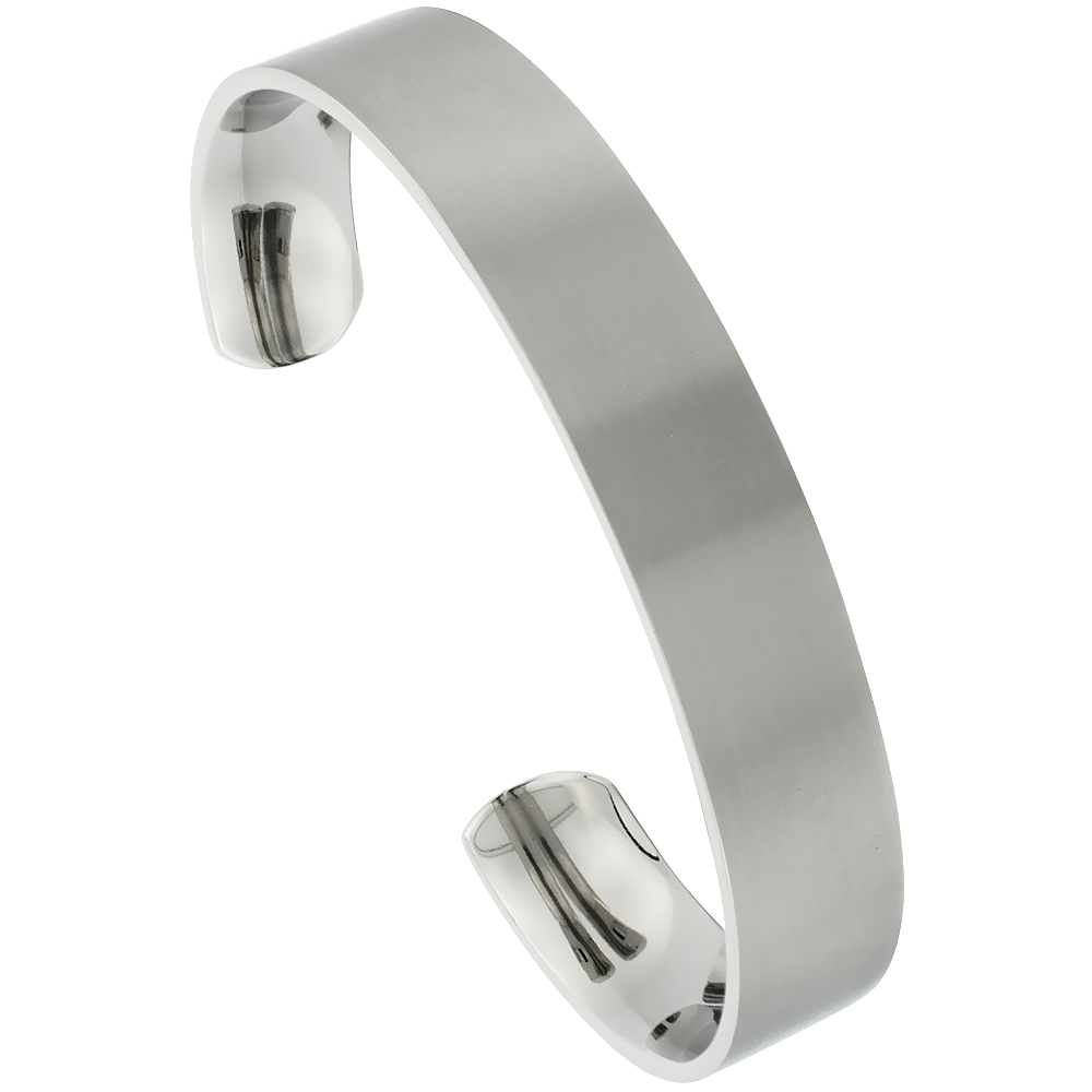 Titanium Flat Cuff Bangle Bracelet Matte finish Comfort-fit, 8 inch long 12 mm 1/2 inch wide