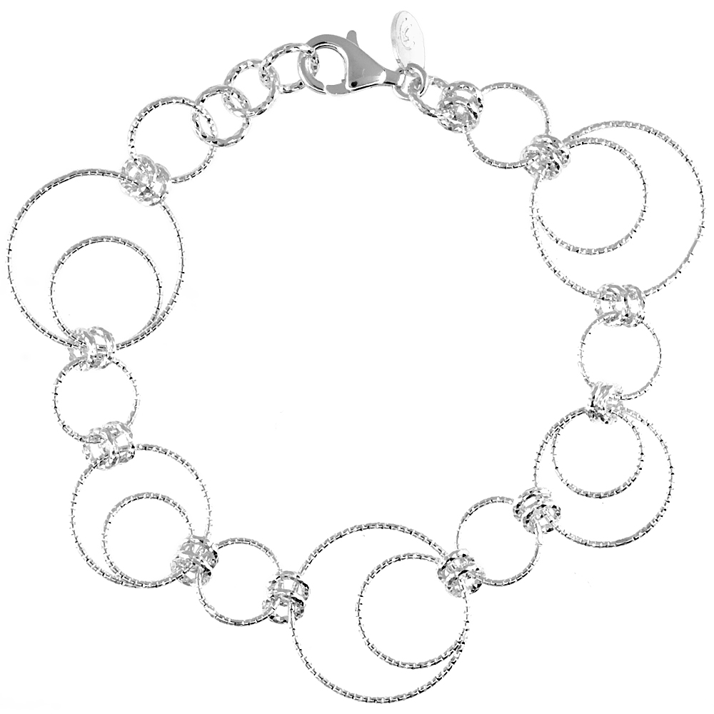 Sabrina Silver Sterling Silver Wire Dangling Circles Hanging Hoop Diamond Cut 7.5 in. Bracelet w/ White Gold Finish, 1 in. (25 mm) drop at Sears.com
