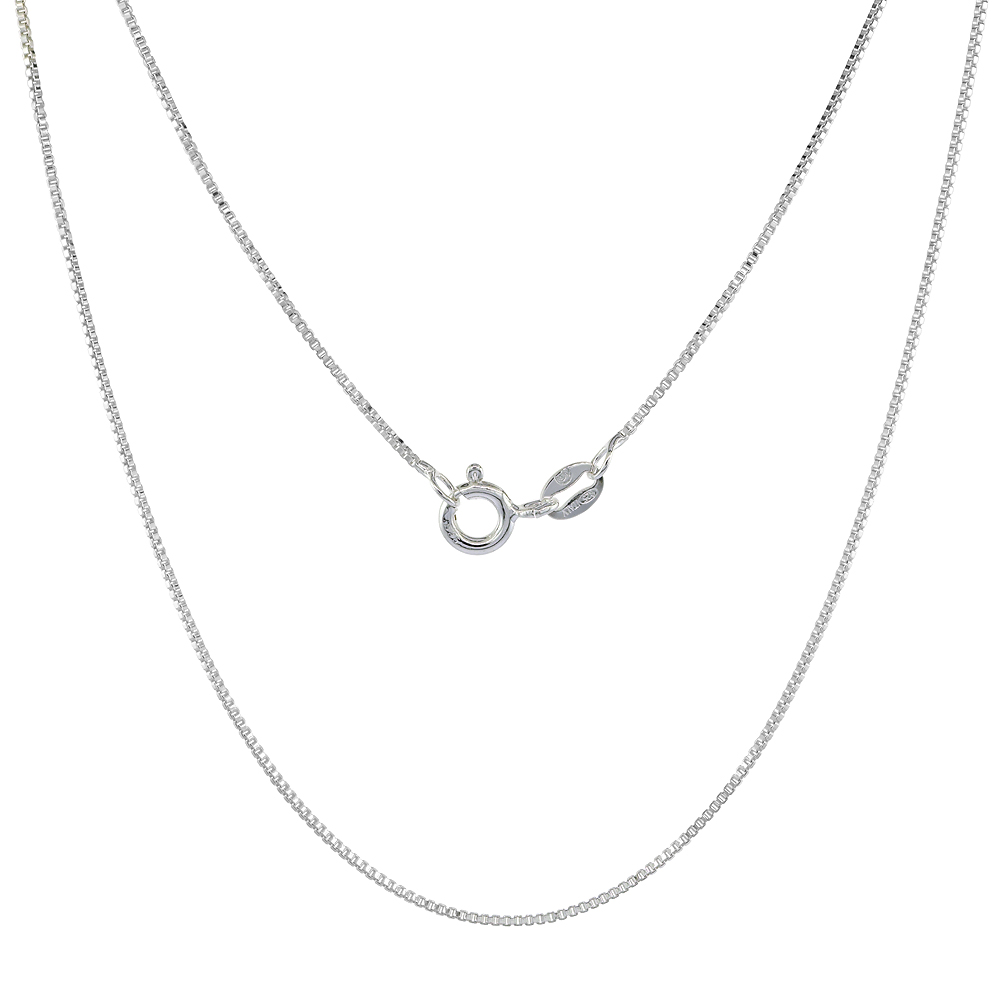 Sterling Silver Box Chain Necklace 0.8mm Very Thin Nickel Free Italy, Sizes 7 - 30 inch