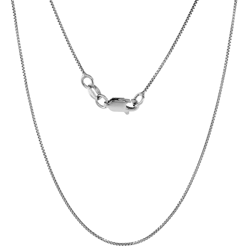 Sterling Silver Italian Box Chain Necklace fine 0.8mm Rhodium Finish Nickel Free available in 16 and 18 inch lengths