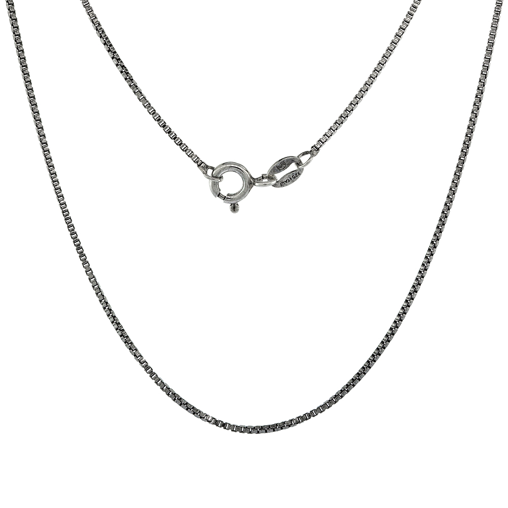 Sterling Silver Box Chain Necklace 1mm Antiqued Finish Nickel Free Italy, Sizes 16 & 18 inch