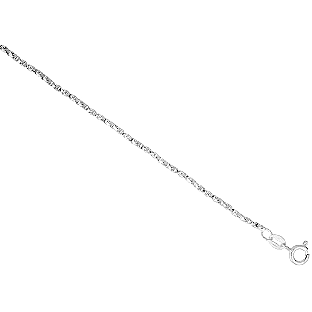 Sterling Silver Twisted BOX Chain Necklace 1.4mm Nickel Free Italy, Sizes 16 - 30 inch