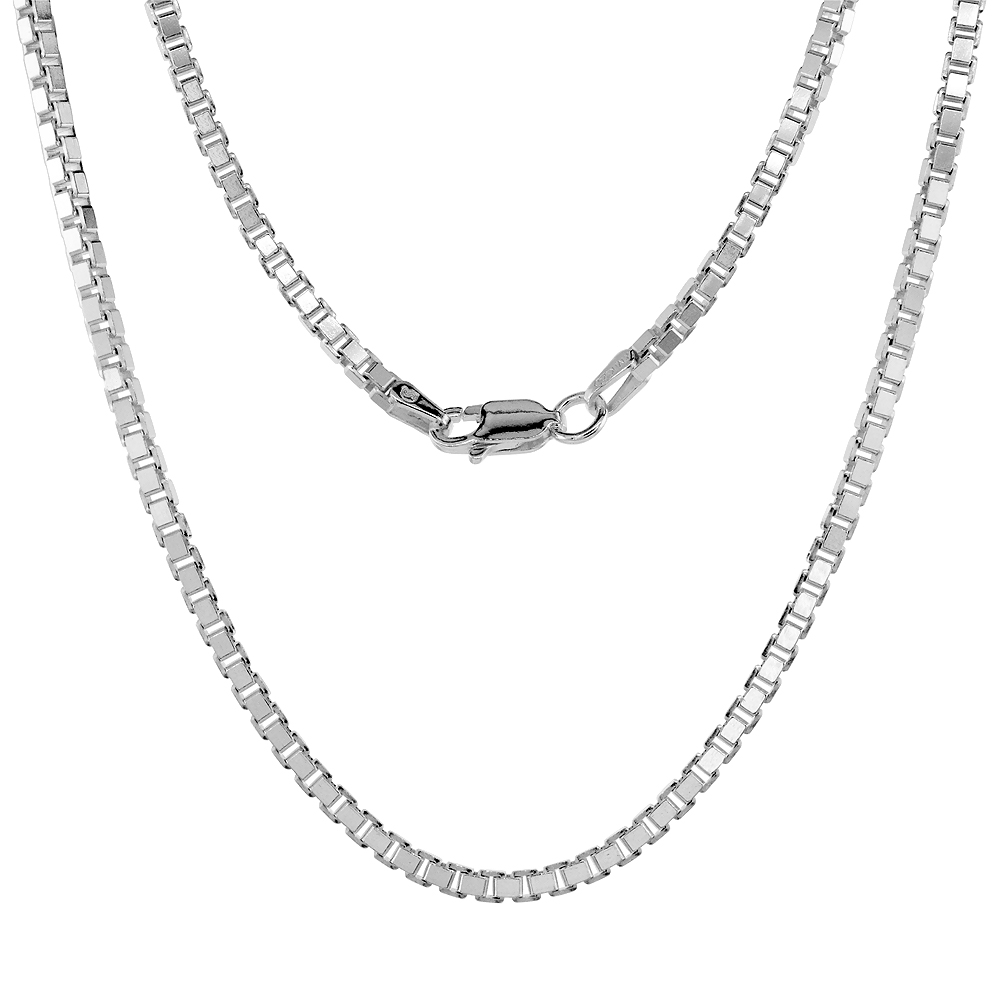 Sterling Silver BOX Chain Necklaces & Bracelets 2.2mm Square Cut Nickel Free Italy, sizes 7 - 30 inch