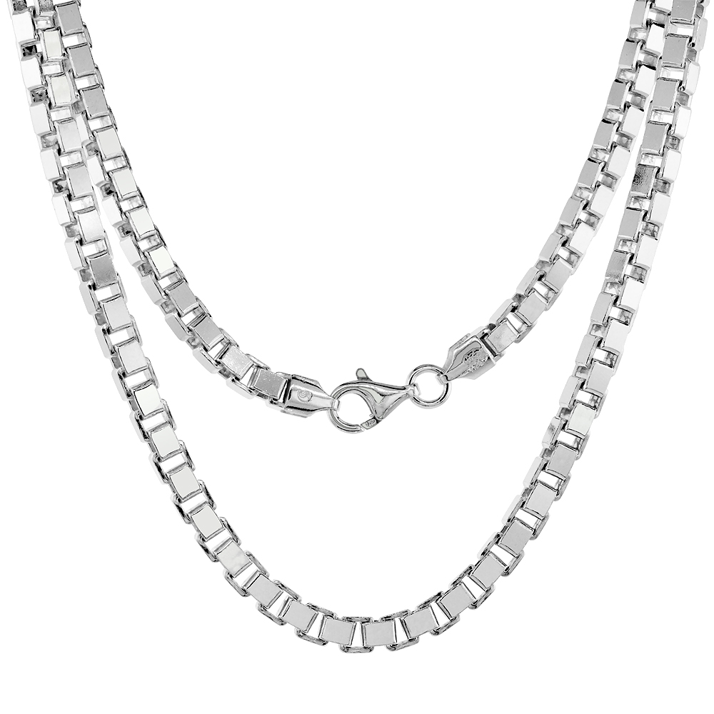 Sterling Silver BOX Chain Necklaces & Bracelets 4.6mm Square Cut Nickel Free Italy, sizes 7 - 30 inch