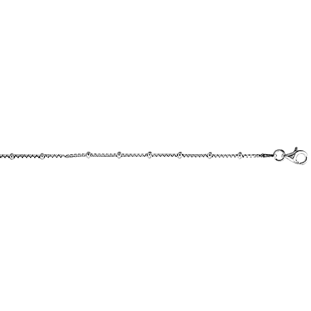 Sterling Silver BOX Chain Station Necklace 1.4mm Nickel Free Italy, Sizes 16 - 24 inch