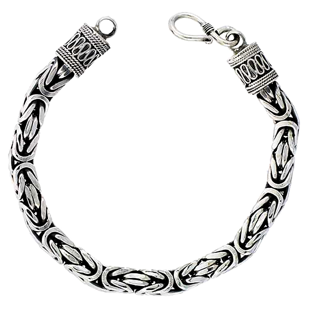 Sterling Silver Square BYZANTINE Chain Necklaces & Bracelets 7mm Antiqued Finish Nickel Free, 8-30 inch