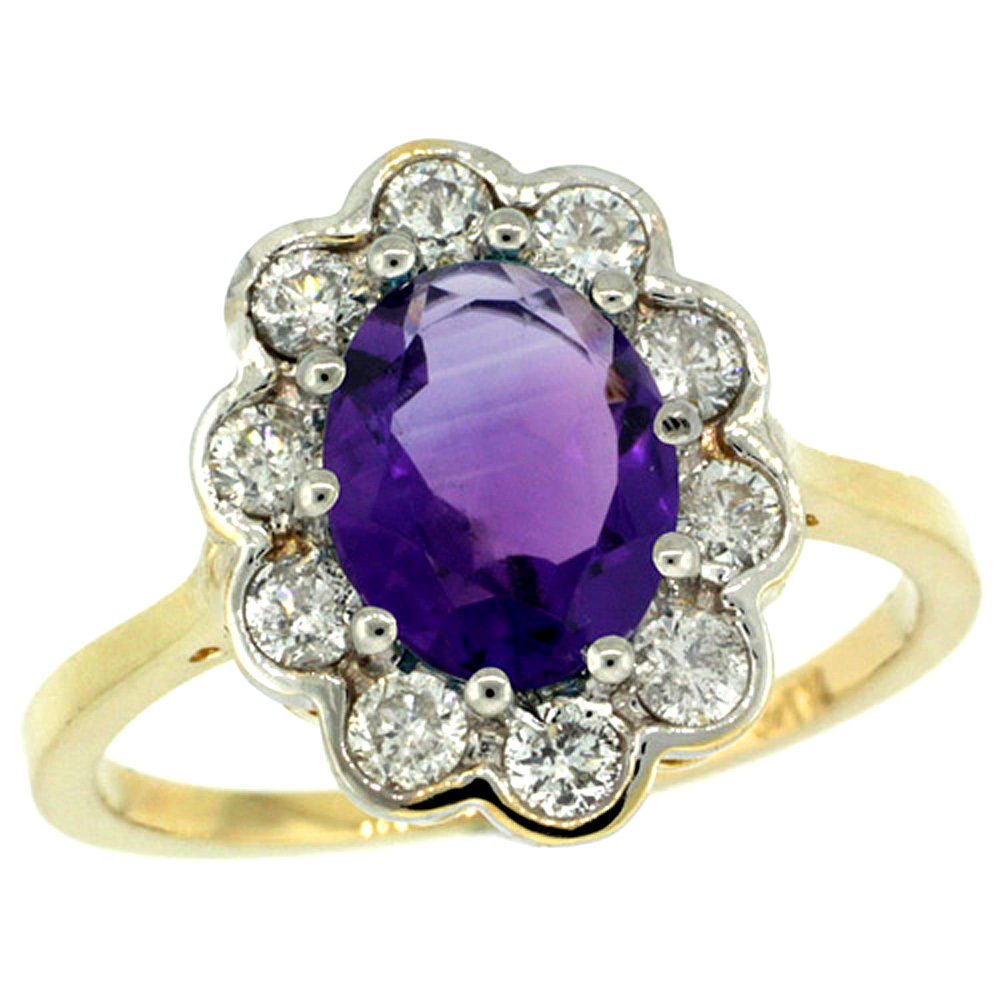 Sabrina Silver 14k Gold ( 9x7 mm ) Halo Engagement Amethyst Ring w/ 0.58 Carat Brilliant Cut ( H-I Color; VS2-SI1 Clarity ) Diamonds & 1.65 Car at Sears.com