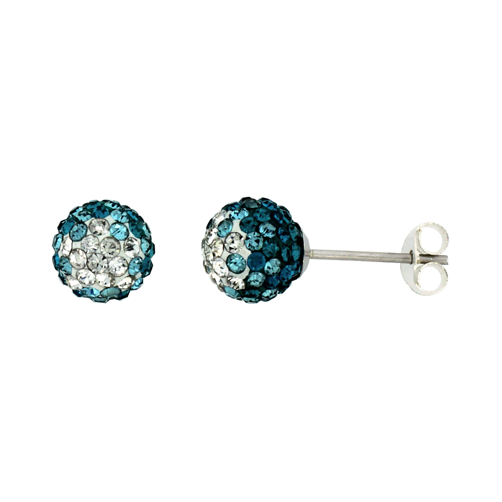 Sterling Silver Crystal Disco Ball Stud Earrings (8mm Round), Clear & Blue-Green Color