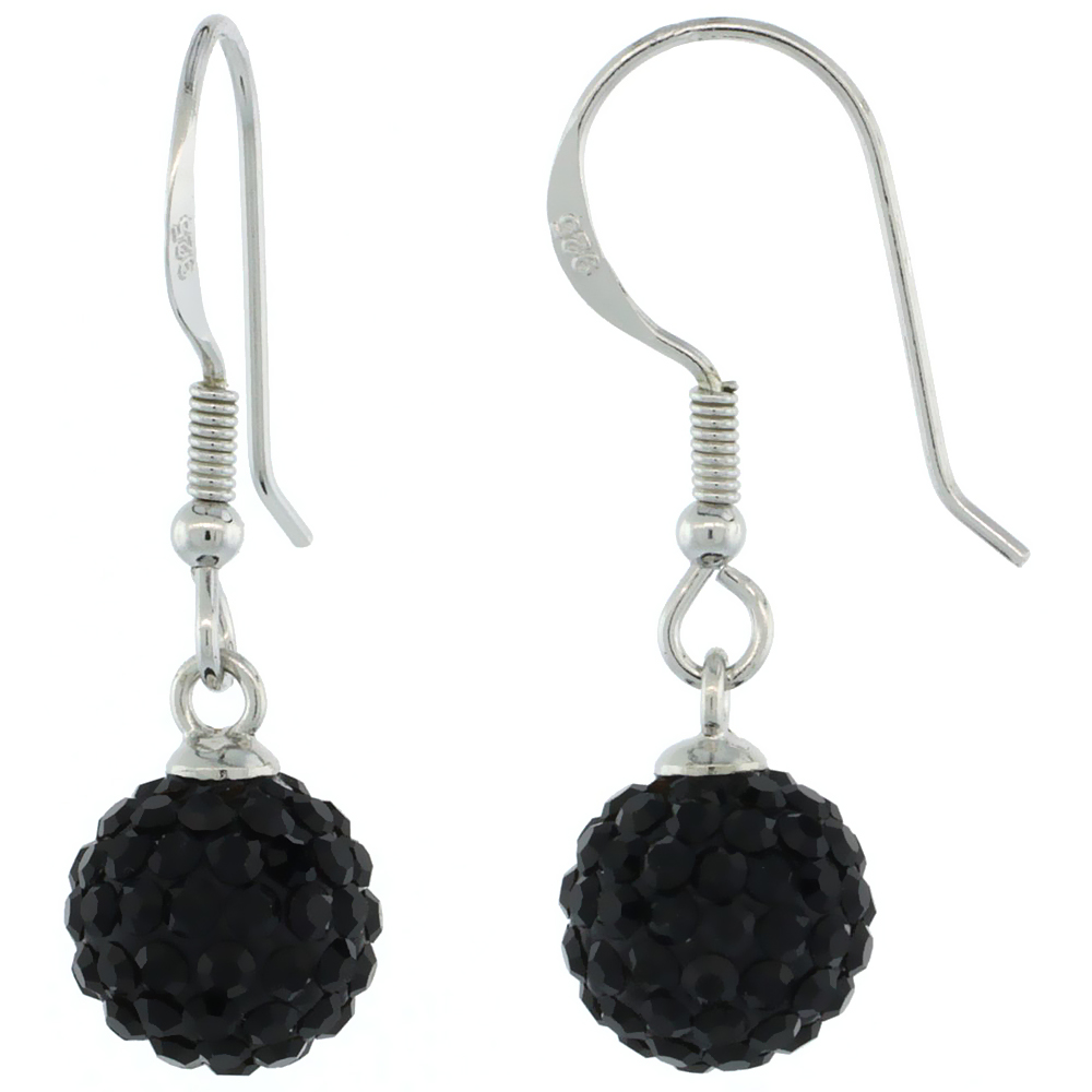 Sterling Silver 8mm Round Black Disco Crystal Ball Fish Hook Earrings, 1 1/4 in. (31 mm) tall, 1 1/16 in. (27 mm) tall