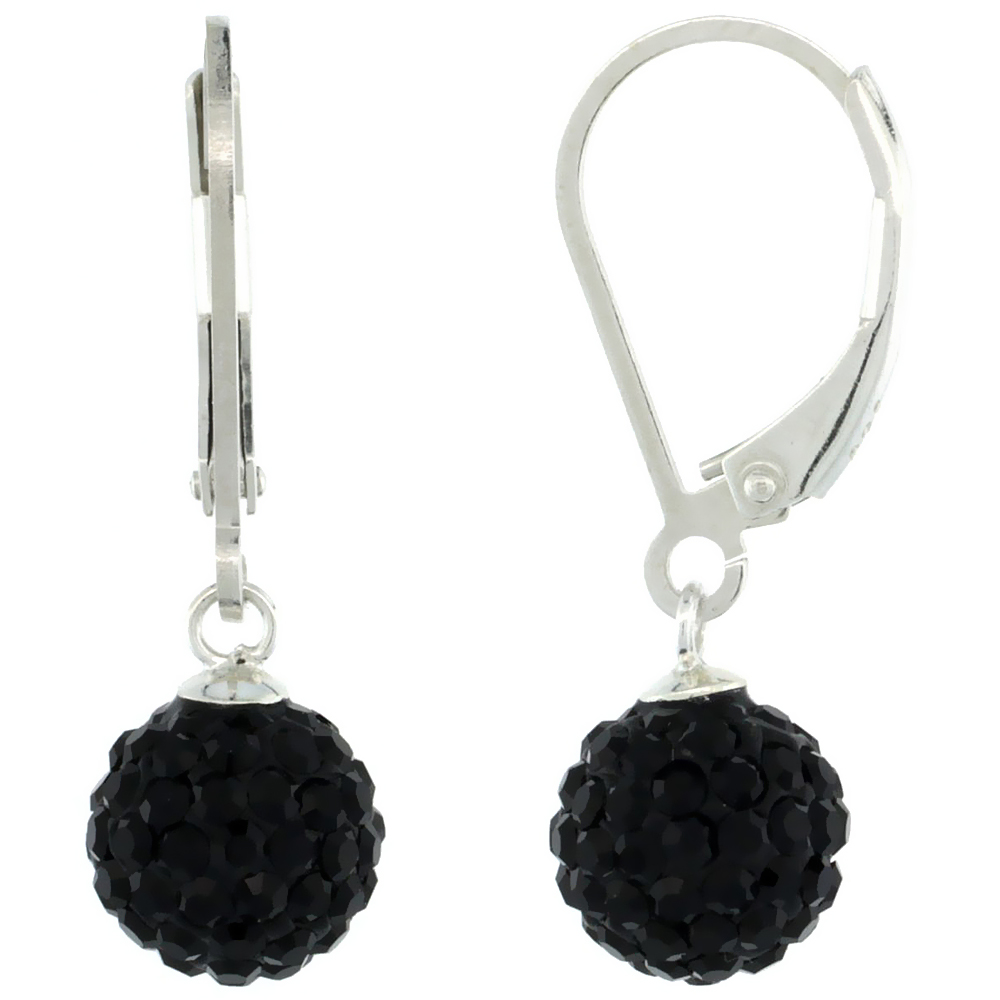 Sterling Silver 8mm Round Black Disco Crystal Ball Lever Back Earrings, 1 in. (25 mm) tall
