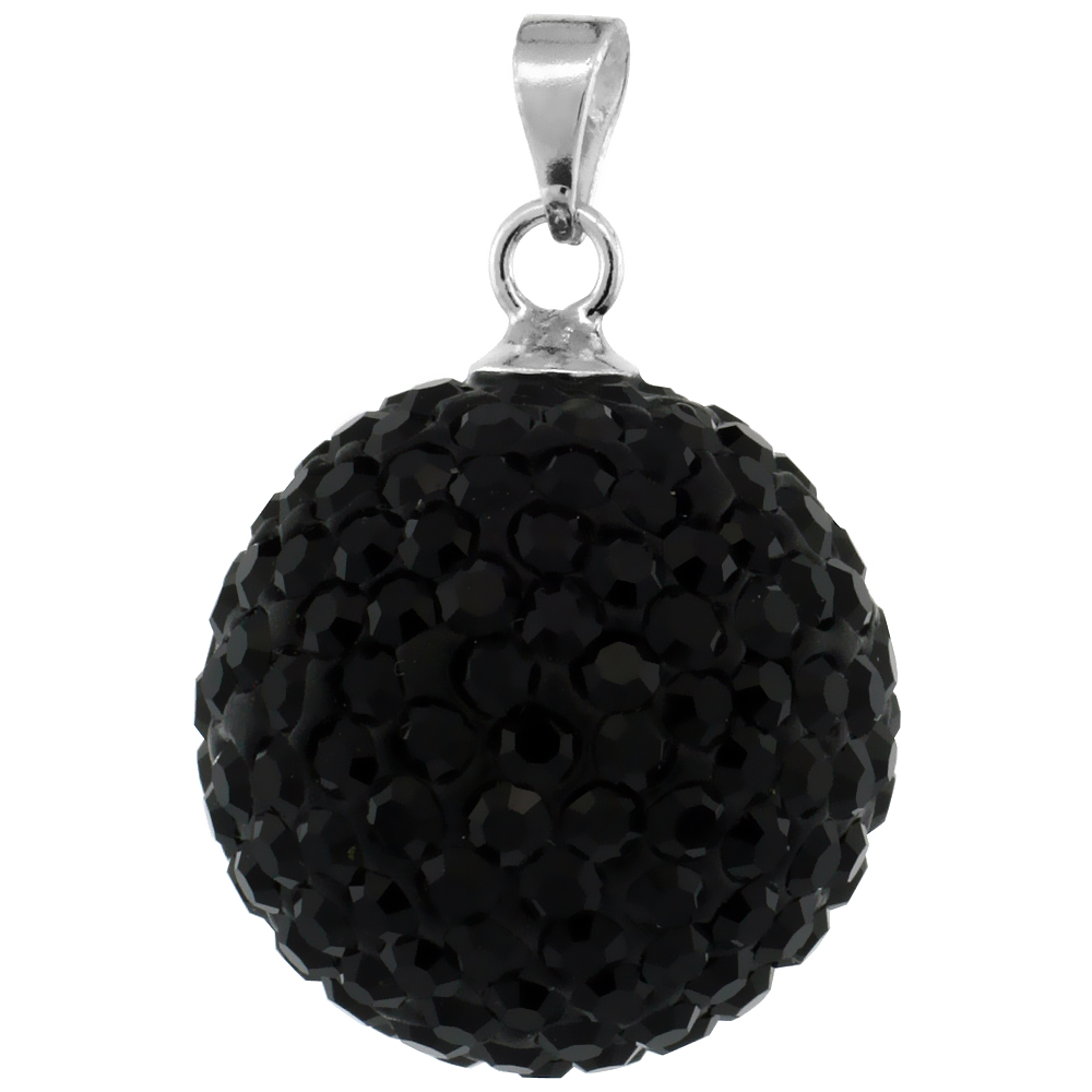 Sterling Silver Black Crystal Disco Ball Pendant 16mm
