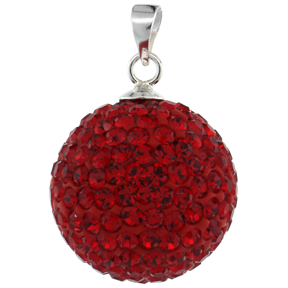 Sterling Silver Red Crystal Disco Ball Pendant 16mm