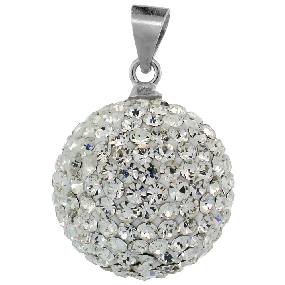 Sterling Silver White Crystal Disco Ball Pendant 16mm