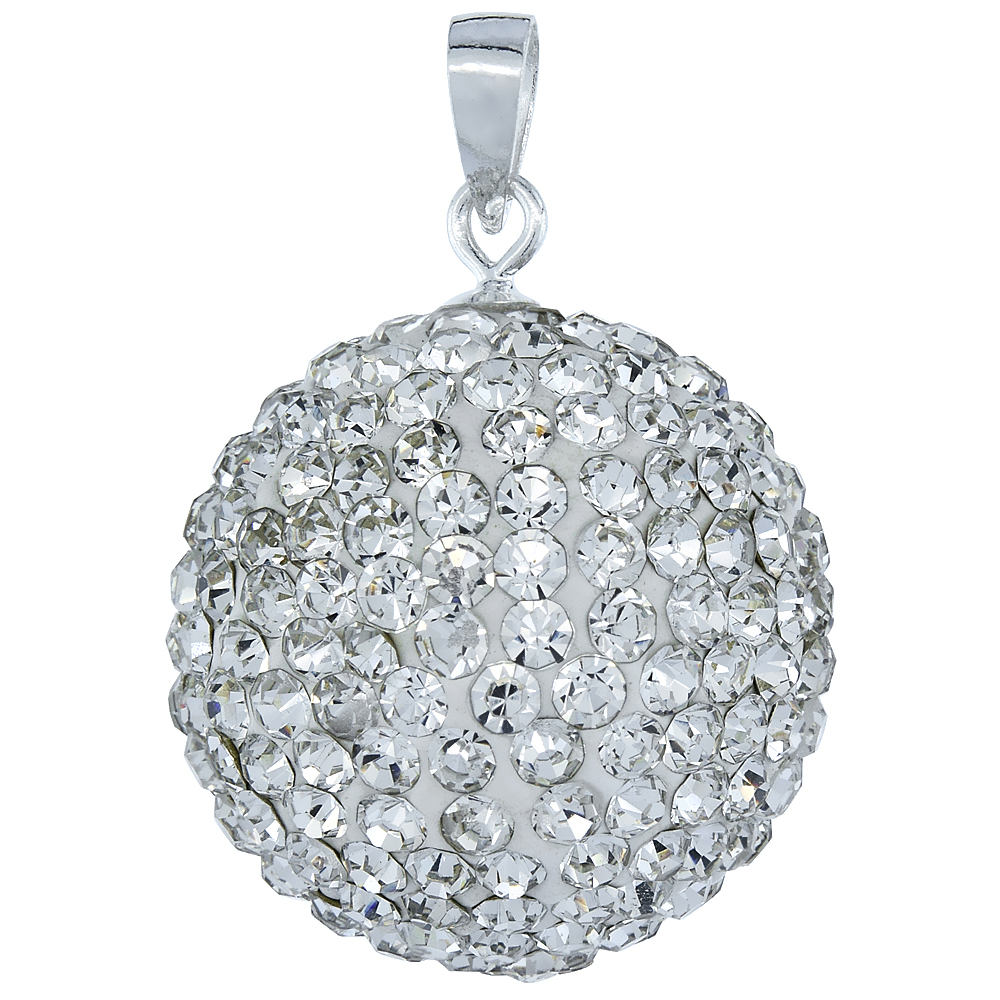 Sterling Silver White Crystal Disco Ball Pendant 20mm