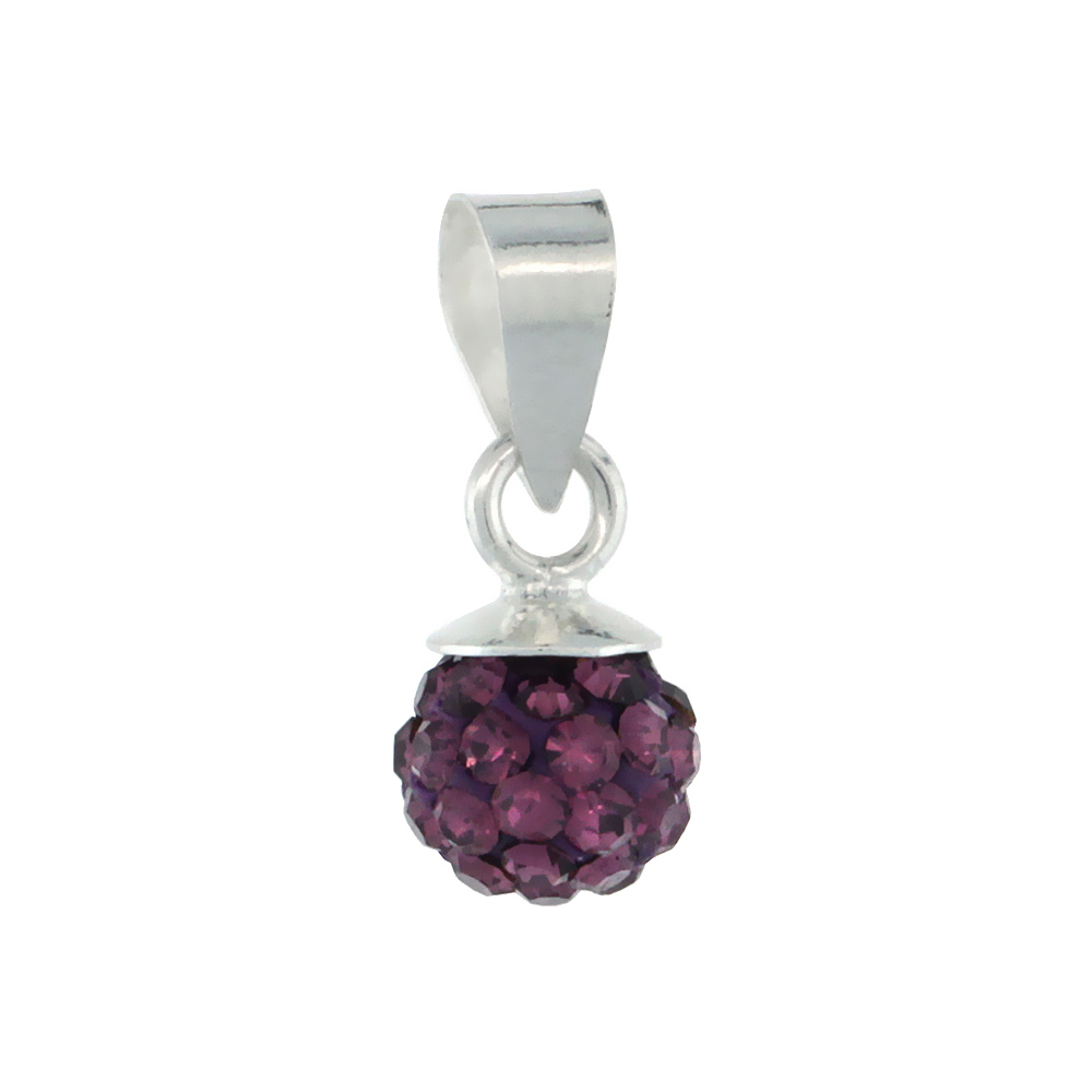 Sterling Silver Amethyst Crystal Ball Pendants 6mm
