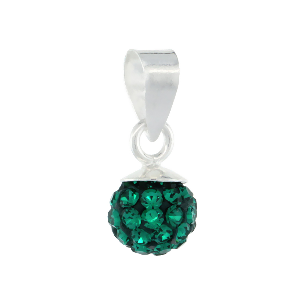 Sterling Silver Emerald Crystal Ball Pendants 6mm