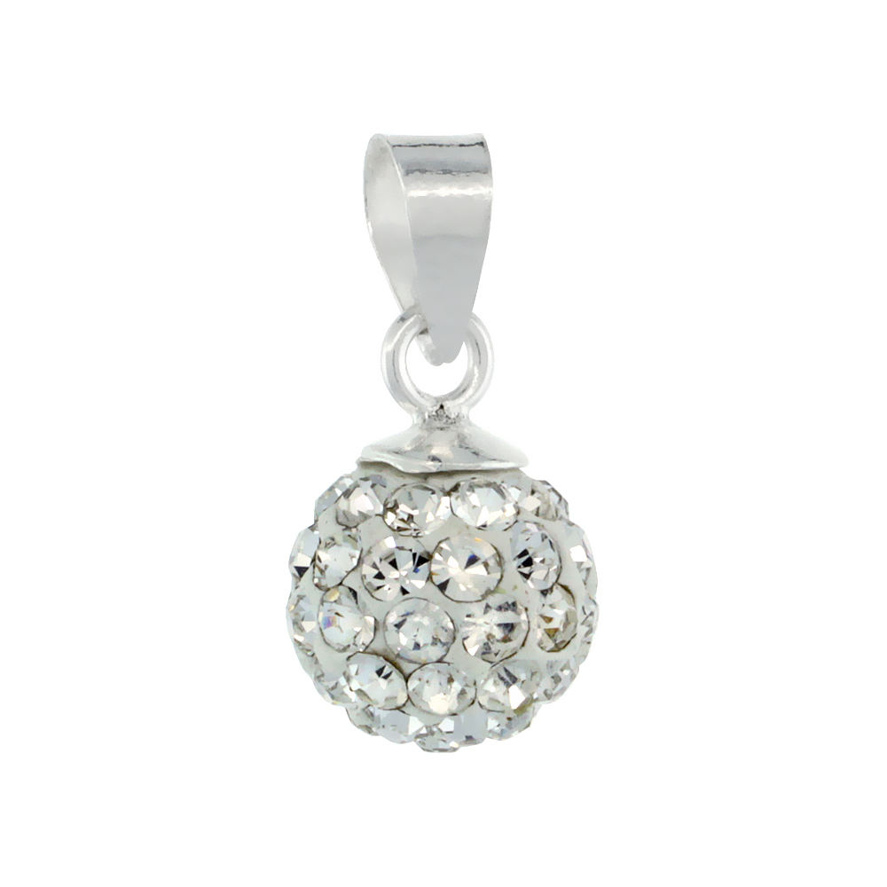 Sterling Silver White Crystal Ball Pendants 8mm