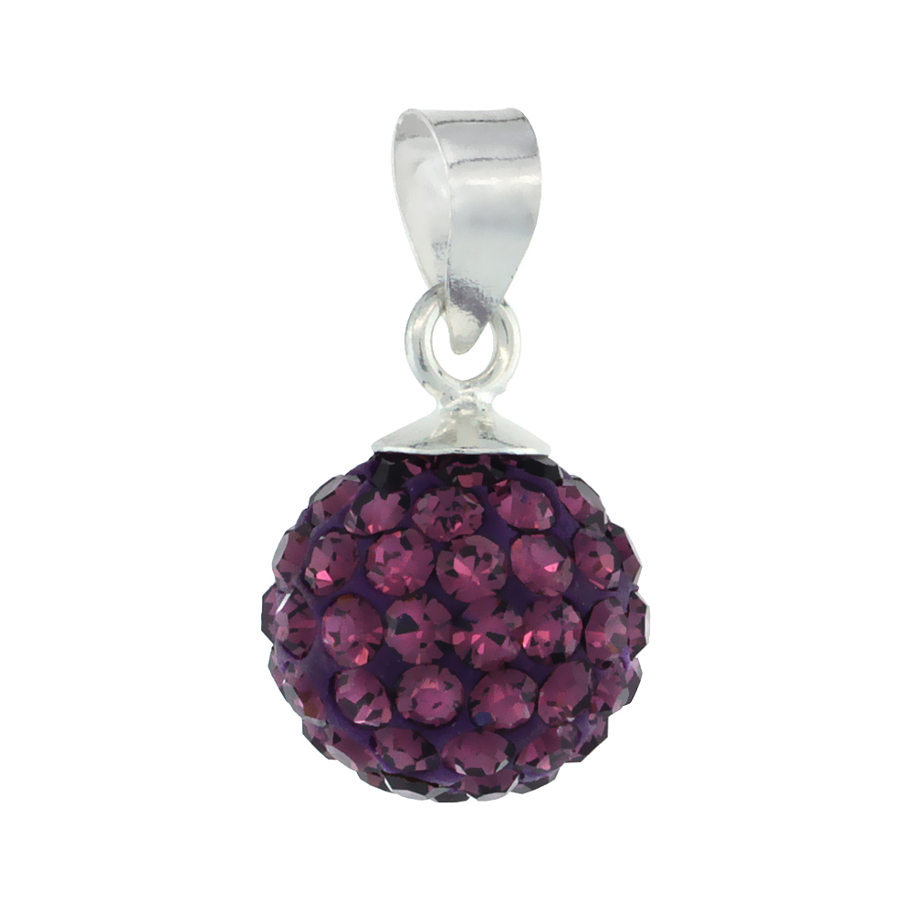 Sterling Silver Amethyst Crystal Ball Pendants 10mm