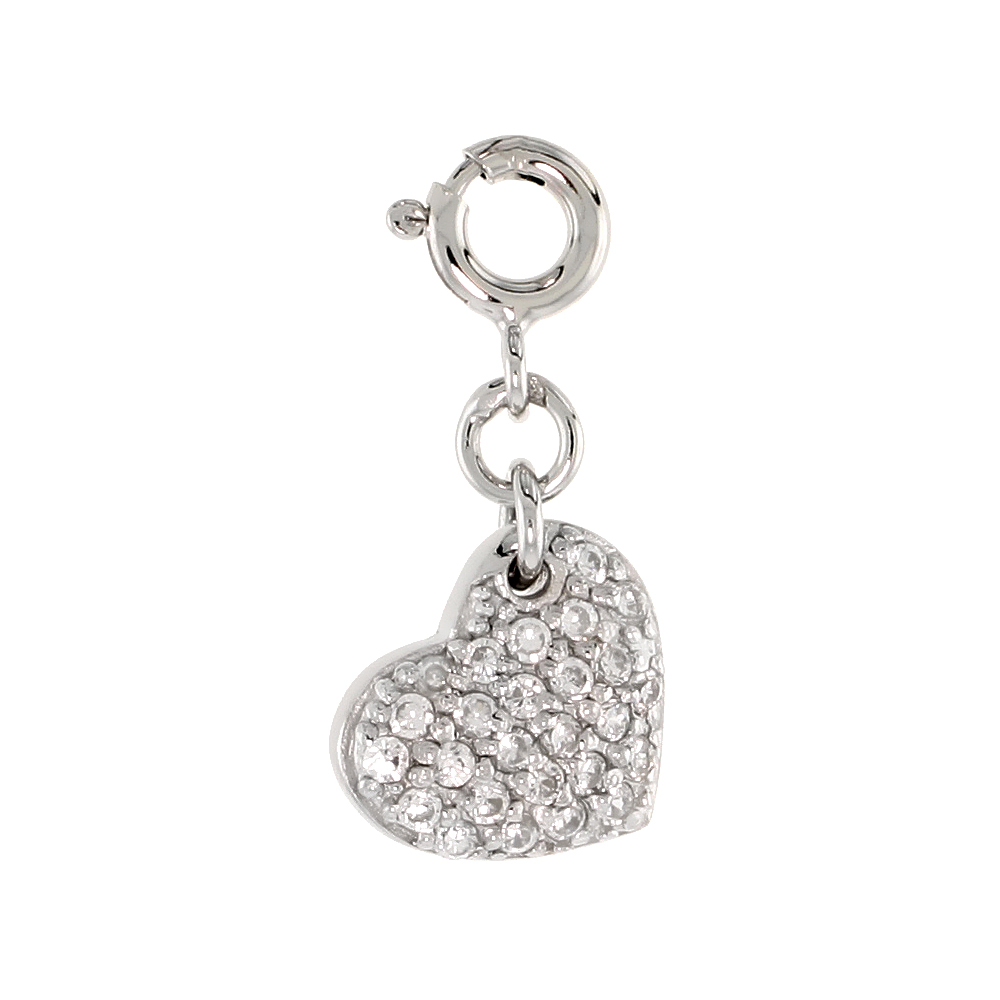 Sterling Silver Jeweled Heart Pendant, w/ CZ Stones, 1/2 in. (12 mm)