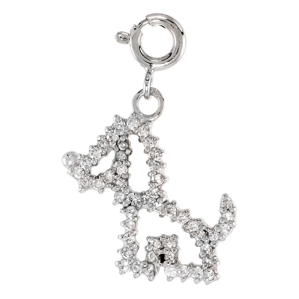Sterling Silver Jeweled Puppy Pendant, w/ CZ Stones, 13/16 in. (20 mm)
