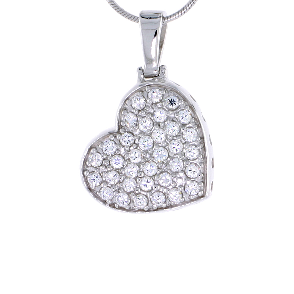 """Sterling Silver Jeweled Heart Pendant, w/ Cubic Zirconia stones, 13/16 (21 mm) tall"""""""