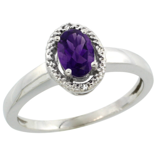 Sabrina Silver 14k White Gold Diamond Halo Amethyst Ring 0.75 Carat Oval Shape 6X4 mm, 3/8 inch (9mm) wide, size 9.5 at Sears.com