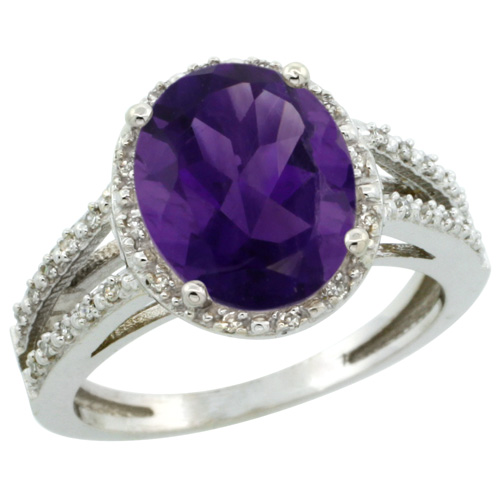 Sabrina Silver 14k White Gold Diamond Halo Amethyst Ring 2.85 Carat Oval Shape 11X9 mm, 7/16 inch (11mm) wide, size 8 at Sears.com
