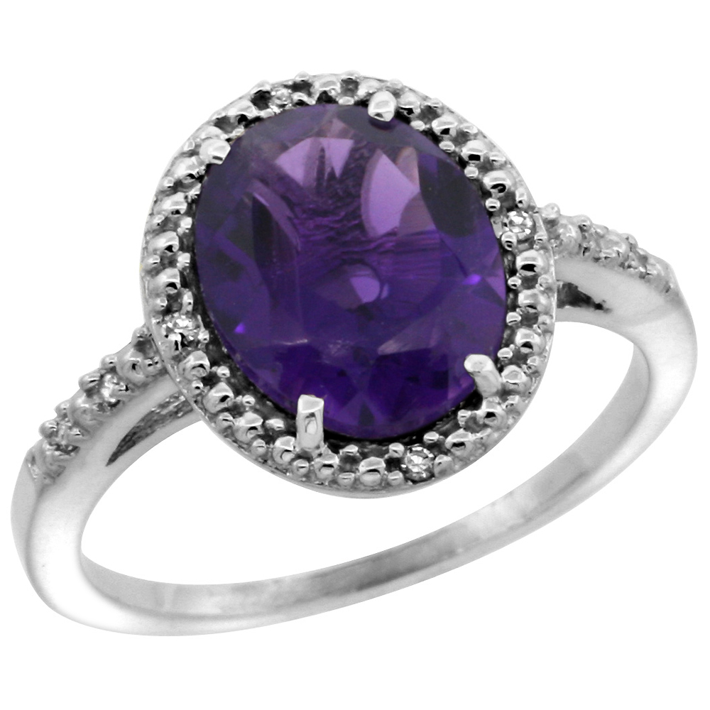 Sabrina Silver 14k White Gold Diamond Amethyst Ring 2.4 ct Oval Stone 10x8 mm, 1/2 inch wide, size 7 at Sears.com