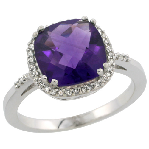 Sabrina Silver 14k White Gold Diamond Amethyst Ring 3 ct Cushion Cut 9x9 mm, 1/2 inch wide, size 7.5 at Sears.com