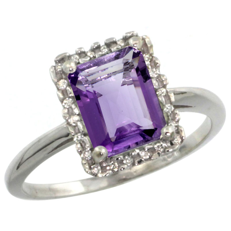 Sabrina Silver 14k White Gold Diamond Amethyst Ring 1.6 ct Emerald Shape 8x6 mm, 1/2 inch wide, size 5 at Sears.com