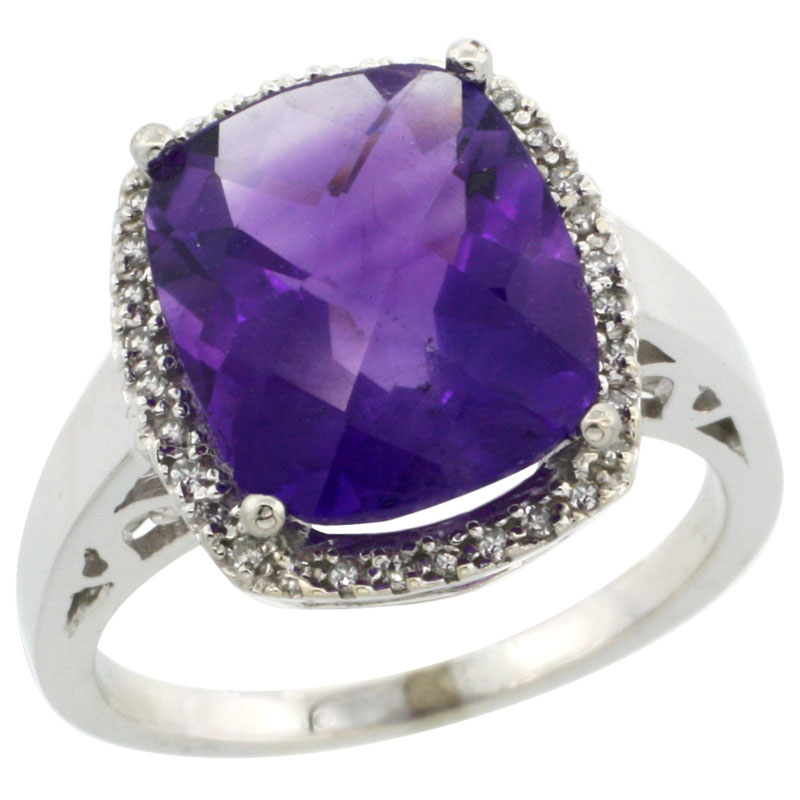 Sabrina Silver 14k White Gold Diamond Amethyst Ring 5.17 ct Checkerboard Cut Cushion 12x10 mm, 1/2 inch wide, size 8.5 at Sears.com