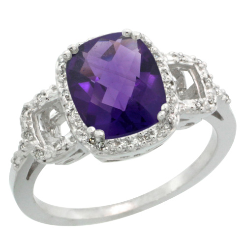 Sabrina Silver 14k White Gold Diamond Amethyst Ring 2 ct Checkerboard Cut Cushion Shape 9x7 mm, 1/2 inch wide, size 6 at Sears.com