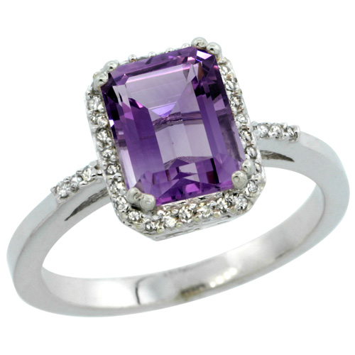 Sabrina Silver 14k White Gold Diamond Amethyst Ring 1.6 ct Emerald Shape 8x6 mm, 1/2 inch wide, size 6.5 at Sears.com