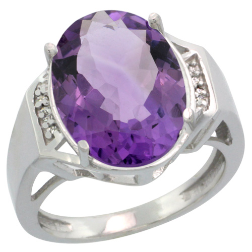 Sabrina Silver 14k White Gold Diamond Amethyst Ring 9.7 ct Large Oval Stone 16x12 mm, 5/8 in wide, size 6.5 at Sears.com