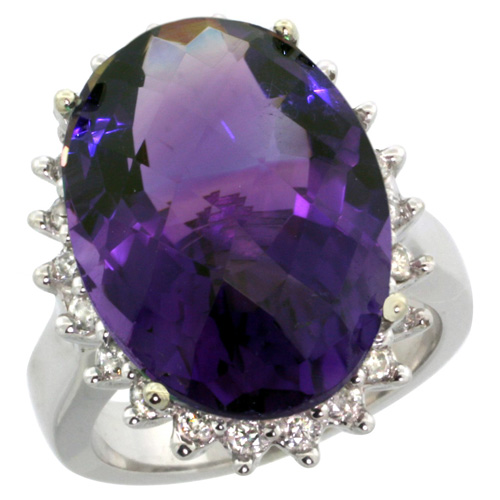 Sabrina Silver 14k White Gold Diamond Halo Amethyst Ring 10 ct Large Oval Stone 18x13 mm, 7/8 inch wide, size 5.5 at Sears.com